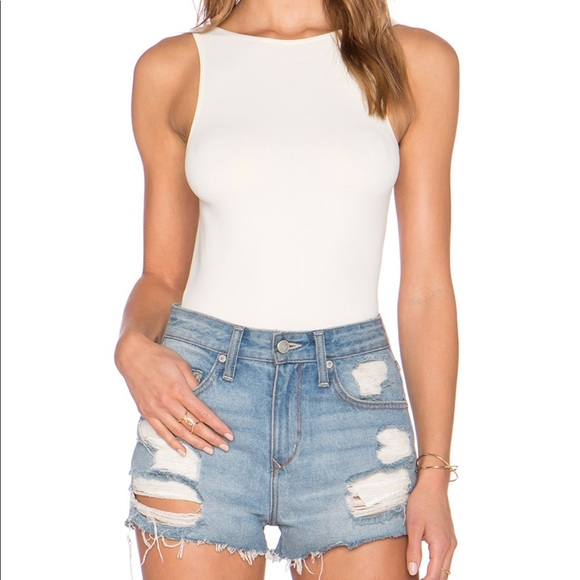 FREE PEOPLE Womens Ivory Low Back Tank Sleeveless Scoop Neck Top L